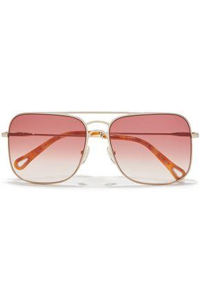 CHLOÉ Ricky square-frame gold-tone sunglasses