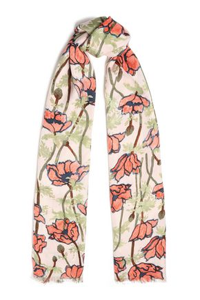 TORY BURCH Frayed floral-print wool and silk-blend scarf