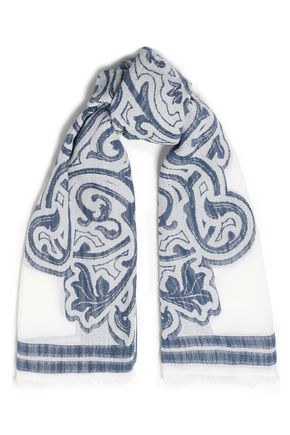 TORY BURCH Frayed cotton and modal-blend jacquard scarf