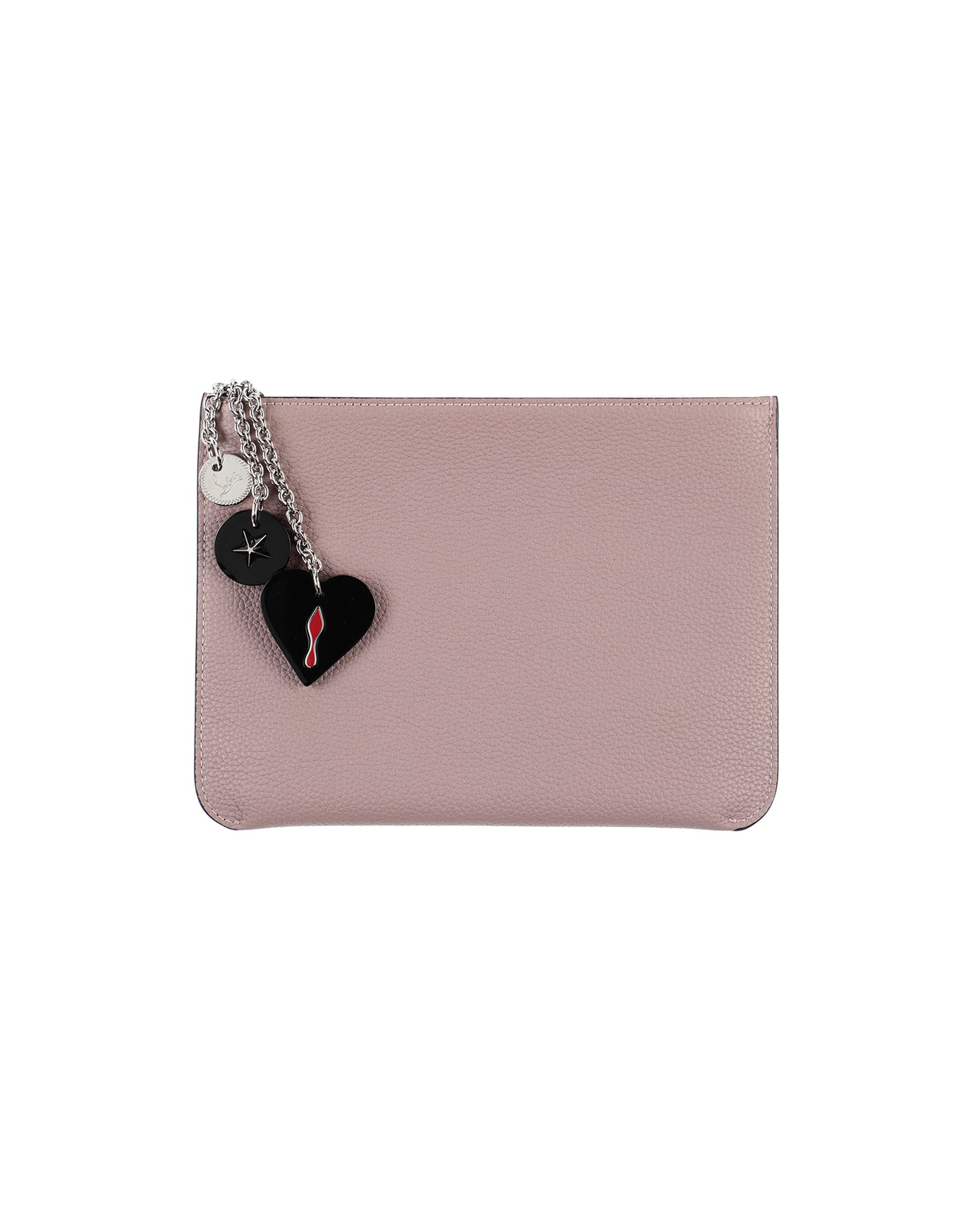CHRISTIAN LOUBOUTIN Pouches. textured leather, contrasting applications, logo, solid color, zip, fully lined, contains non-textile parts of animal origin. Calfskin