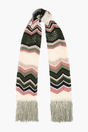 M MISSONI Fringed crochet-knit scarf