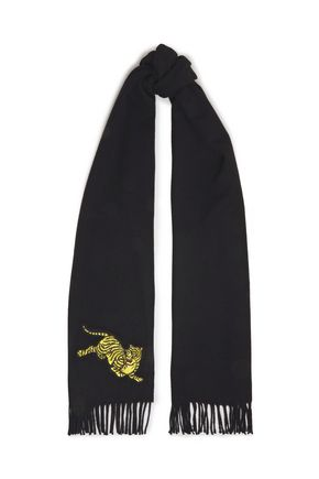 KENZO Jumping Tiger fringed brushed-wool scarf