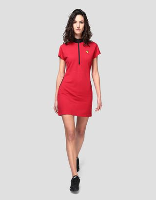 Scuderia Ferrari Online Store - Polo dress in Milano rib - Short Dresses