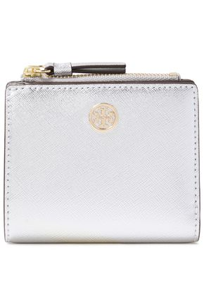 TORY BURCH Robinson mini logo-embellished metallic textured-leather wallet