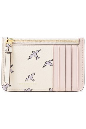 TORY BURCH Printed textured-leather cardholder