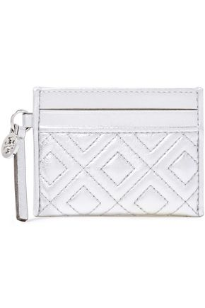 TORY BURCH Fleming metallic quilted leather wallet