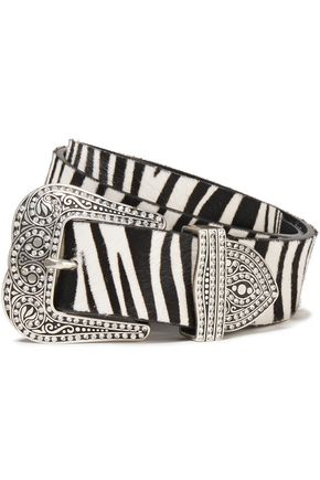 MARC JACOBS Crystal-embellished zebra-print calf hair belt