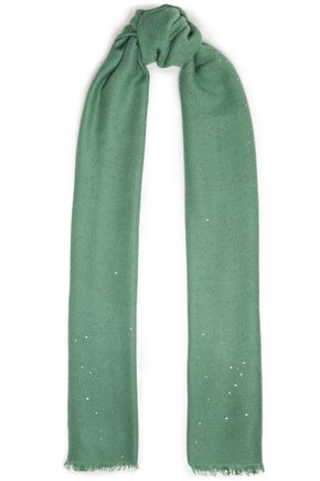 BRUNELLO CUCINELLI Frayed sequin-embellished cashmere and silk-blend scarf