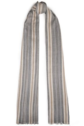 BRUNELLO CUCINELLI Frayed striped cotton-blend gauze scarf