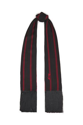 McQ Alexander McQueen Fringed printed brushed-crepe scarf
