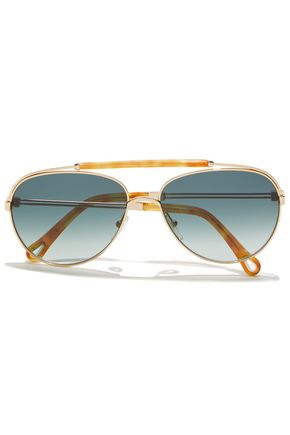 CHLOÉ Reece aviator-style gold-tone and marbled acetate sunglasses