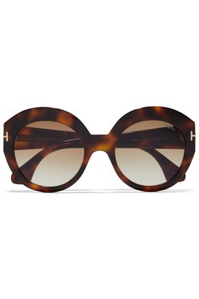TOM FORD Round-frame tortoiseshell acetate sunglasses