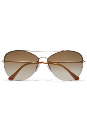 TOM FORD نظارات شمسية بأسلوب آفياتور وباللون الذهبي