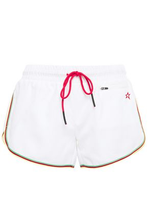 PERFECT MOMENT Rainbow embroidered brushed-shell shorts