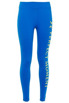 PERFECT MOMENT Neon-trimmed logo-print stretch-jersey leggings