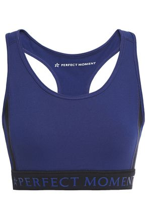 PERFECT MOMENT Striped stretch sports bra