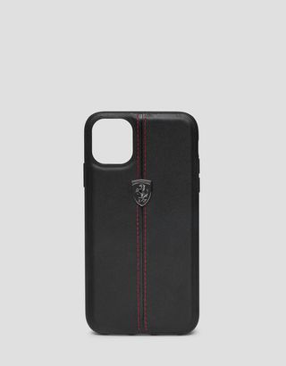 Scuderia Ferrari Online Store - Black leather hard case for iPhone 11 Pro - Smartphone Accessories