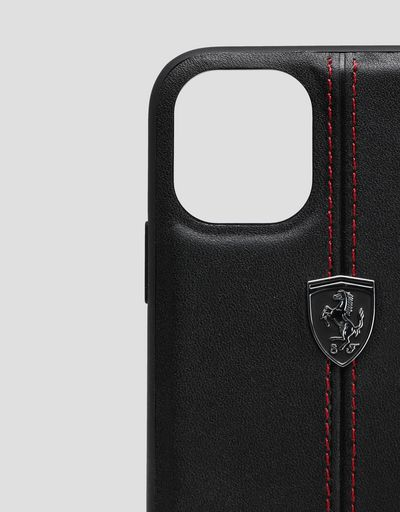Scuderia Ferrari Online Store - Rigid black leather case for iPhone 11 Pro - Smartphone Accessories