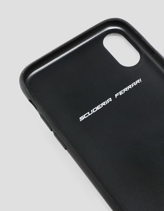 Scuderia Ferrari Online Store - Black hard case with contrasting stitching for iPhone X and XS - Smartphone Accessories