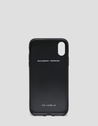 Scuderia Ferrari Online Store - Rigid black case with contrast stitching for iPhone X and XS - Smartphone Accessories