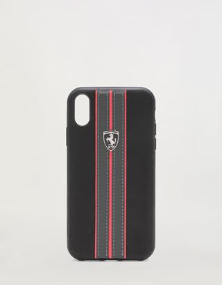 Scuderia Ferrari Online Store - Rigid black case with contrast stitching for iPhone XR - Smartphone Accessories