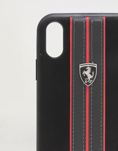 Scuderia Ferrari Online Store - Coque rigide noire avec surpiqûres contrastantes pour iPhone XR - Accessoires pour smartphone