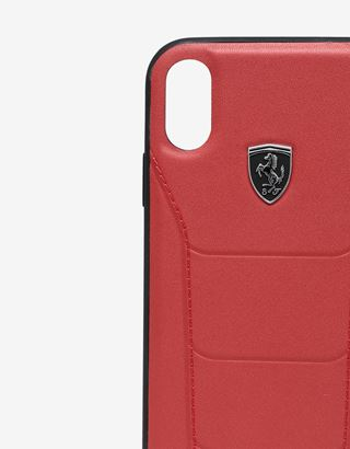 Scuderia Ferrari Online Store - Rigid red leather case with stitching for iPhone XR - Smartphone Accessories