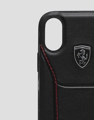 Scuderia Ferrari Online Store - Rigid black leather case with stitching for iPhone X and XS - Smartphone Accessories