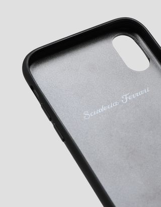 Scuderia Ferrari Online Store - Black leather hard case with stitching for iPhone X and XS - Smartphone Accessories
