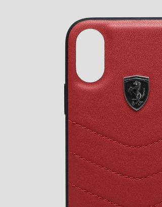 Scuderia Ferrari Online Store - Rigid red leather case for iPhone X and XS - Smartphone Accessories