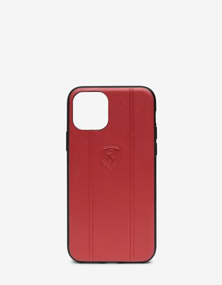 Scuderia Ferrari Online Store - Red leather hard case with embossed Shield for iPhone 11 Pro - Smartphone Accessories
