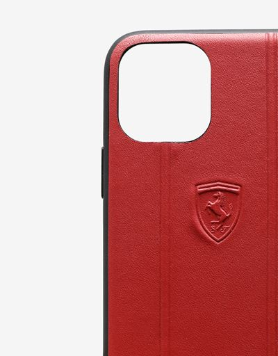 Scuderia Ferrari Online Store - Rigid red leather case with debossed Ferrari Shield for iPhone 11 Pro - Smartphone Accessories
