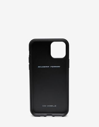 Scuderia Ferrari Online Store - Rigid black leather case with Ferrari Shield for iPhone 11 Pro - Smartphone Accessories