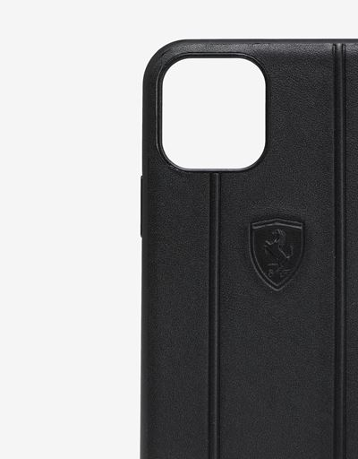 Scuderia Ferrari Online Store - Black leather hard case with embossed Shield for iPhone 11 Pro - Smartphone Accessories