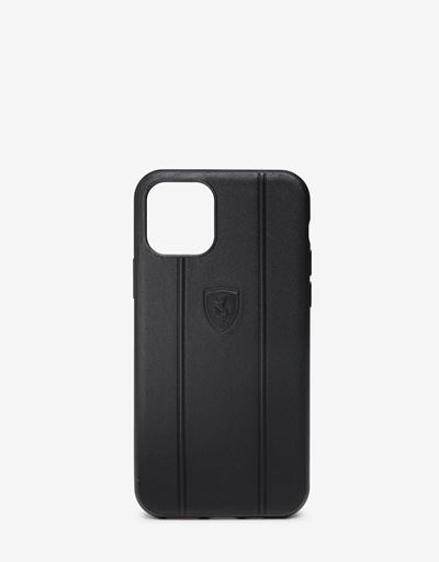 Rigid black leather case with Ferrari Shield for iPhone 11 Pro