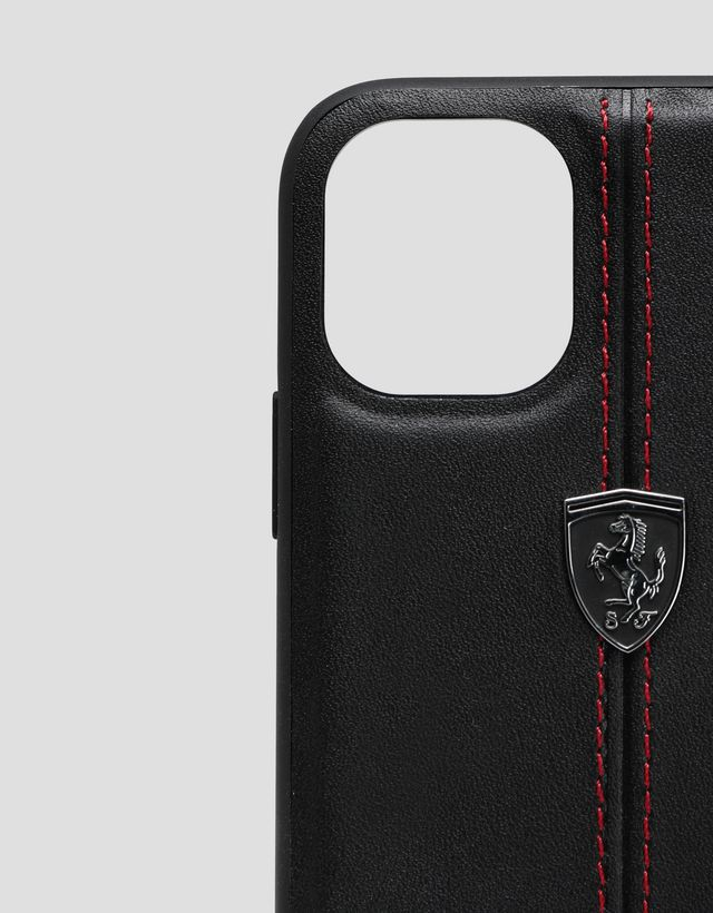 Scuderia Ferrari Online Store - Black rigid leather case for iPhone 11 - Smartphone Accessories