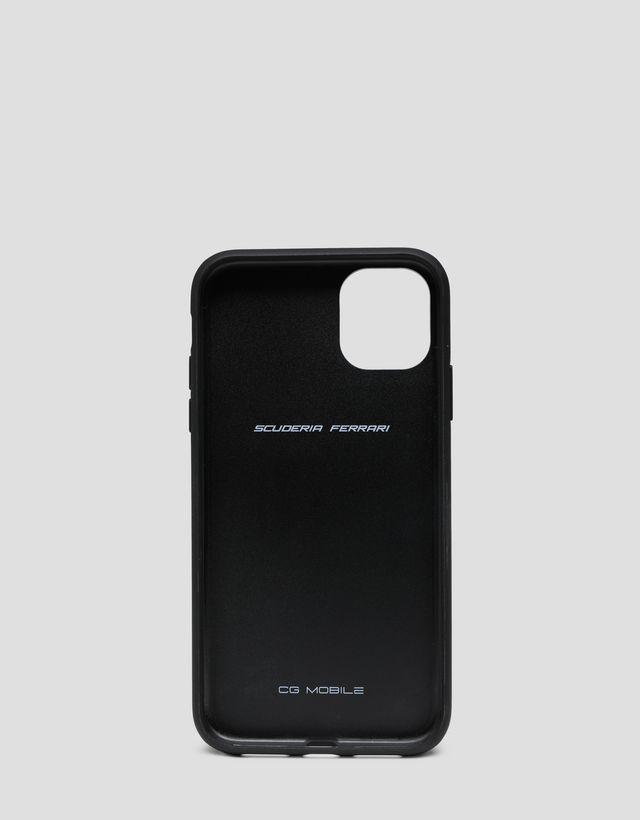 Scuderia Ferrari Online Store - Hardcover aus schwarzem Leder für iPhone 11 - Smartphone-Accessoires
