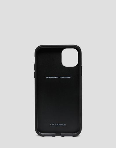 Black leather hard case for iPhone 11