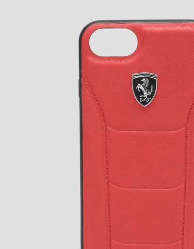Scuderia Ferrari Online Store - Rigid red leather case with stitching for iPhone 8 - Smartphone Accessories