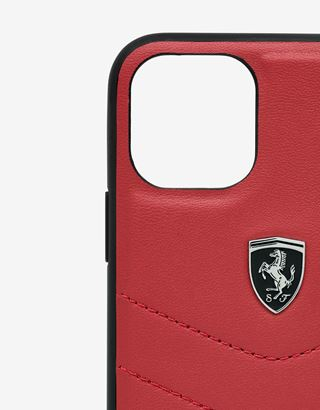 Scuderia Ferrari Online Store - Rigid red leather case for iPhone 11 Pro - Smartphone Accessories