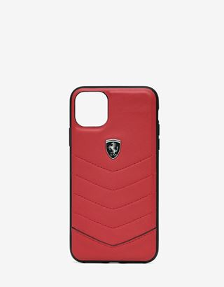 Scuderia Ferrari Online Store - Rigid red leather case for iPhone 11 Pro Max - Smartphone Accessories