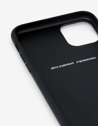 Scuderia Ferrari Online Store - Rigid black case with carbon fiber print for iPhone 11 Pro Max - Smartphone Accessories