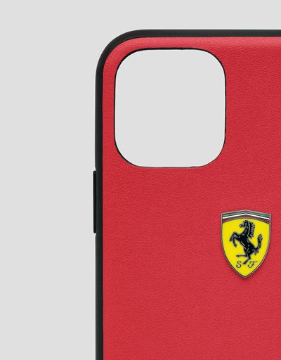 Scuderia Ferrari Online Store - Rigid red case with carbon fiber print for iPhone 11 Pro Max - Smartphone Accessories
