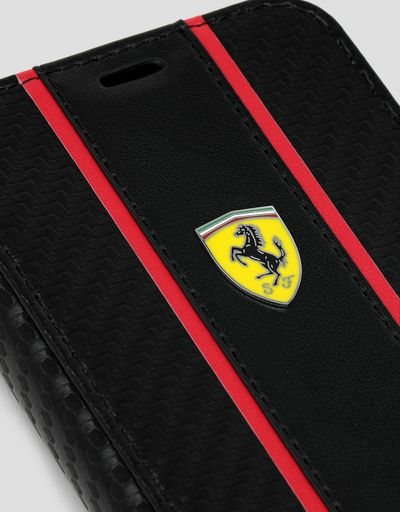 Scuderia Ferrari Online Store - Black wallet case with carbon-effect insert for iPhone 11 Pro - Smartphone Accessories