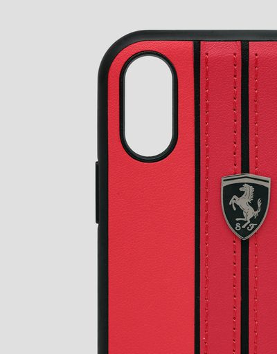 Scuderia Ferrari Online Store - Red hard case with contrasting stitching for iPhone XR - Smartphone Accessories