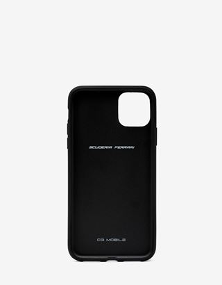 Scuderia Ferrari Online Store - Black hard case with carbon fibre print for iPhone 11 - Smartphone Accessories