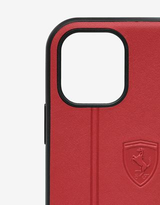 Scuderia Ferrari Online Store - Rigid red leather case with debossed Ferrari Shield for iPhone 11 - Smartphone Accessories