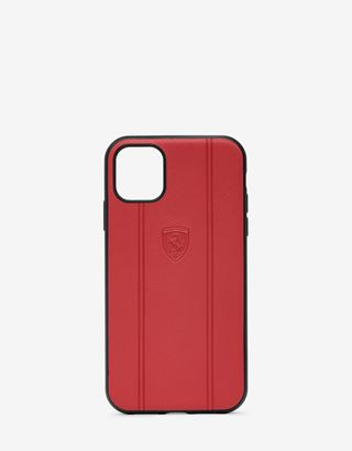 Scuderia Ferrari Online Store - Red leather hard case with embossed Shield for iPhone 11 - Smartphone Accessories