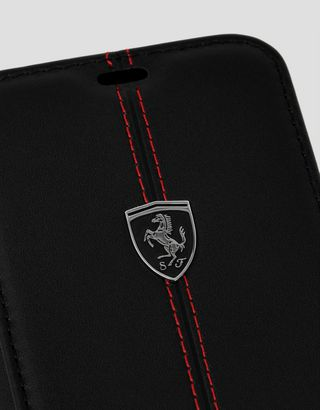 Scuderia Ferrari Online Store - Black leather flip case for iPhone 11 Pro - Smartphone Accessories