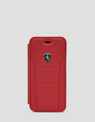 Scuderia Ferrari Online Store - Red leather flip case with contrasting stitching for iPhone 8 - Smartphone Accessories